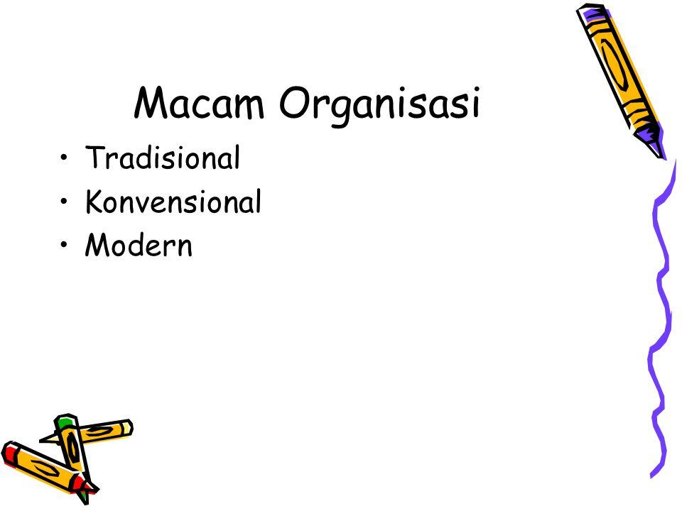 Macam Organisasi Tradisional Konvensional Modern