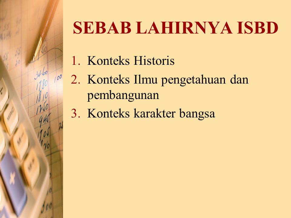 SEBAB LAHIRNYA ISBD 1.Konteks Historis 2.Konteks Ilmu pengetahuan dan pembangunan 3.Konteks karakter bangsa