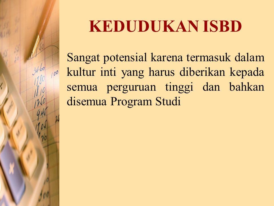 KEDUDUKAN ISBD Sangat potensial karena termasuk dalam kultur inti yang harus diberikan kepada semua perguruan tinggi dan bahkan disemua Program Studi