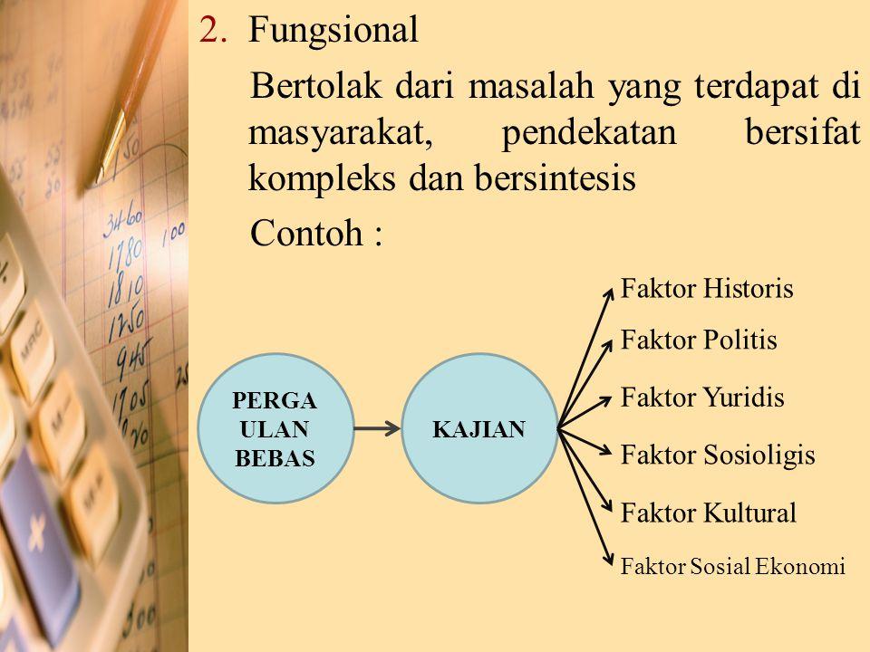 2.Fungsional Bertolak dari masalah yang terdapat di masyarakat, pendekatan bersifat kompleks dan bersintesis Contoh : KAJIAN PERGA ULAN BEBAS Faktor H