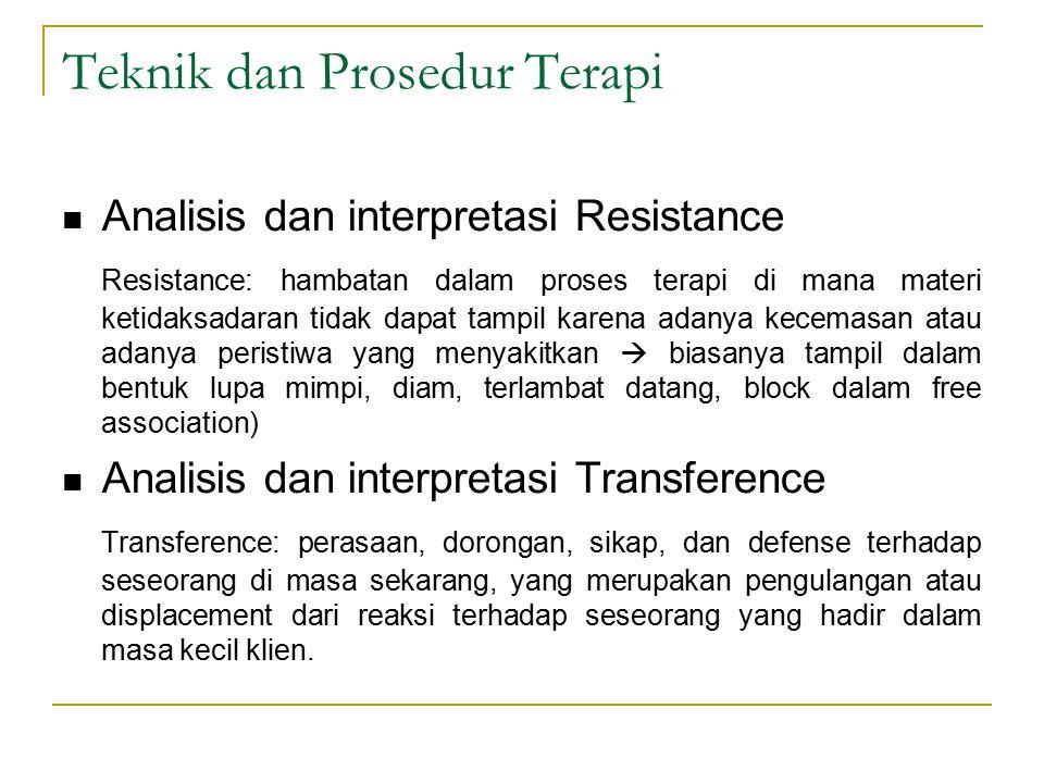 Teknik dan Prosedur Terapi Analisis dan interpretasi Resistance Resistance: hambatan dalam proses terapi di mana materi ketidaksadaran tidak dapat tam