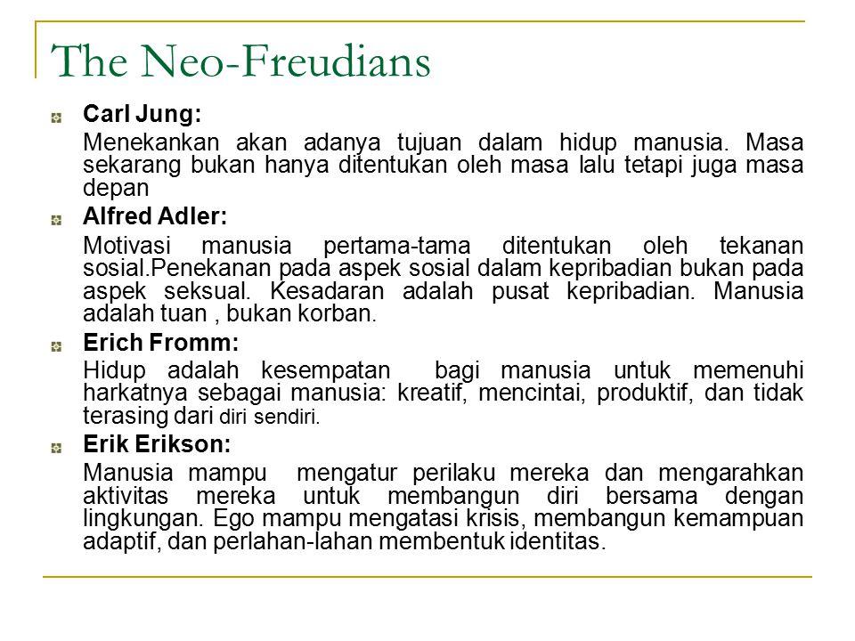 The Neo-Freudians Carl Jung: Menekankan akan adanya tujuan dalam hidup manusia. Masa sekarang bukan hanya ditentukan oleh masa lalu tetapi juga masa d