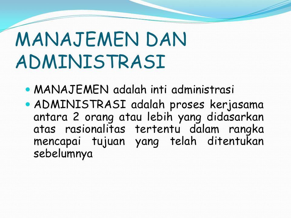 MANAJEMEN DAN ADMINISTRASI ADMINISTRASI adalah seni manajemen, sedangkan MANAJEMEN hanya mengelola hal-hal yang berhubungan dengan sumber- sumber yang merupakan bagian pekerjaan administrasi (Herman Finer) Manajemen < administrasi