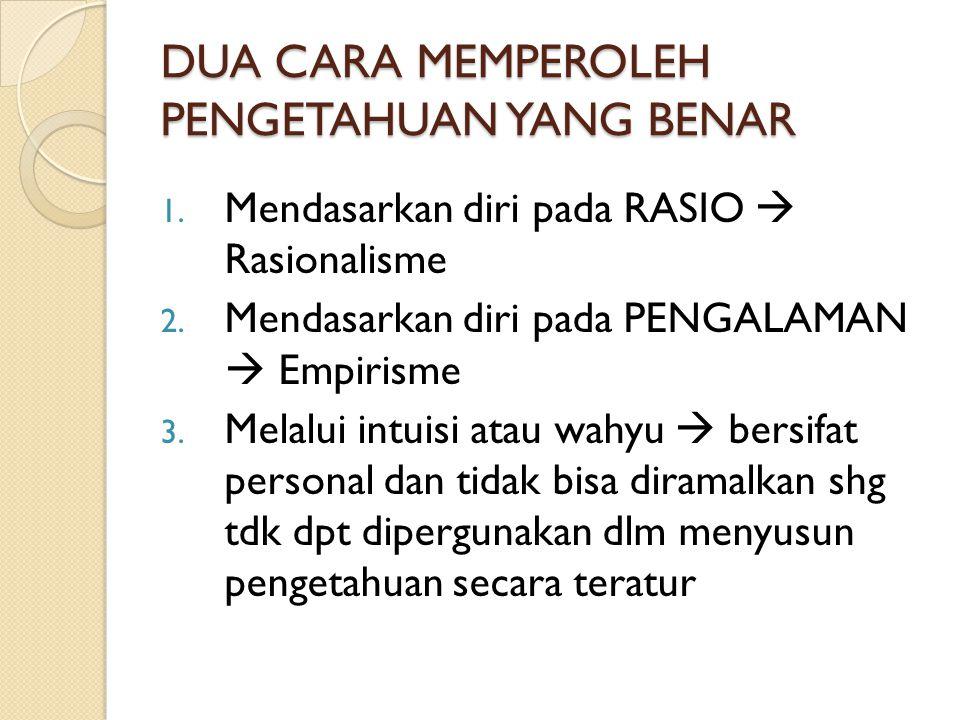DUA CARA MEMPEROLEH PENGETAHUAN YANG BENAR 1. Mendasarkan diri pada RASIO  Rasionalisme 2. Mendasarkan diri pada PENGALAMAN  Empirisme 3. Melalui in