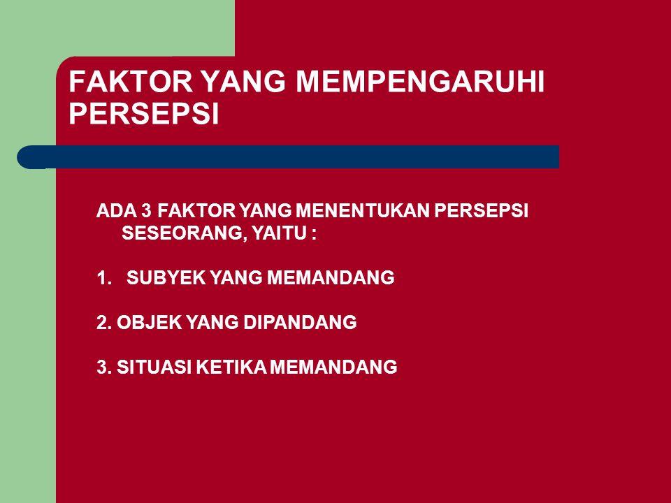 FAKTOR YANG MEMPENGARUHI PERSEPSI ADA 3 FAKTOR YANG MENENTUKAN PERSEPSI SESEORANG, YAITU : 1. SUBYEK YANG MEMANDANG 2. OBJEK YANG DIPANDANG 3. SITUASI