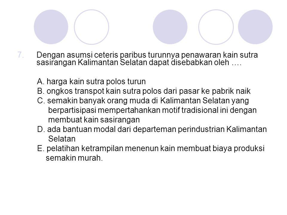 7.Dengan asumsi ceteris paribus turunnya penawaran kain sutra sasirangan Kalimantan Selatan dapat disebabkan oleh …. A. harga kain sutra polos turun B