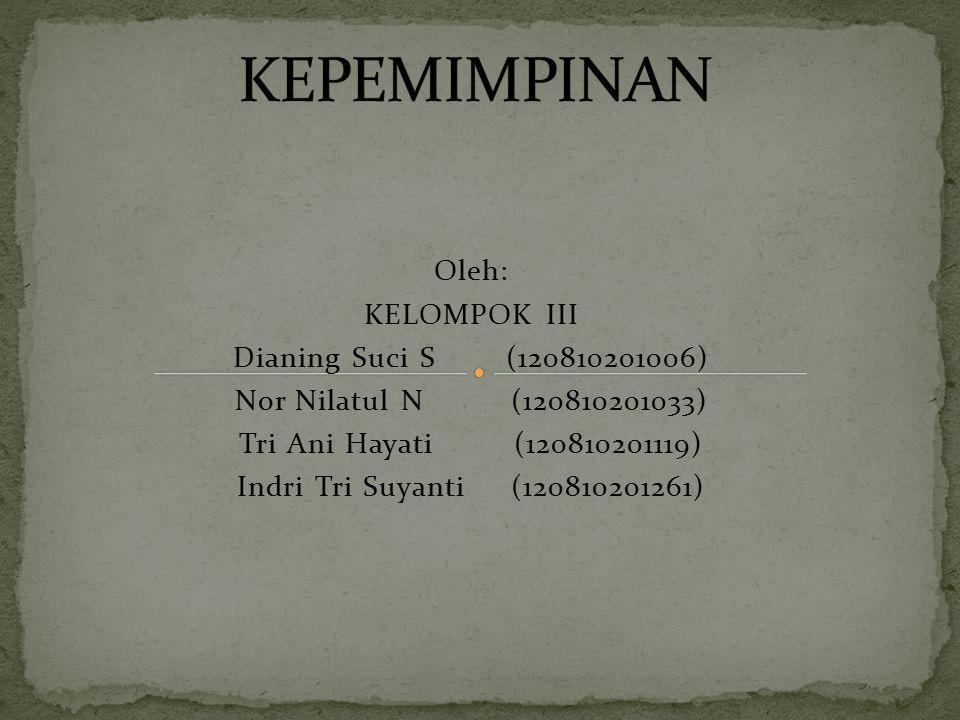 Oleh: KELOMPOK III Dianing Suci S (120810201006) Nor Nilatul N (120810201033) Tri Ani Hayati (120810201119) Indri Tri Suyanti (120810201261)