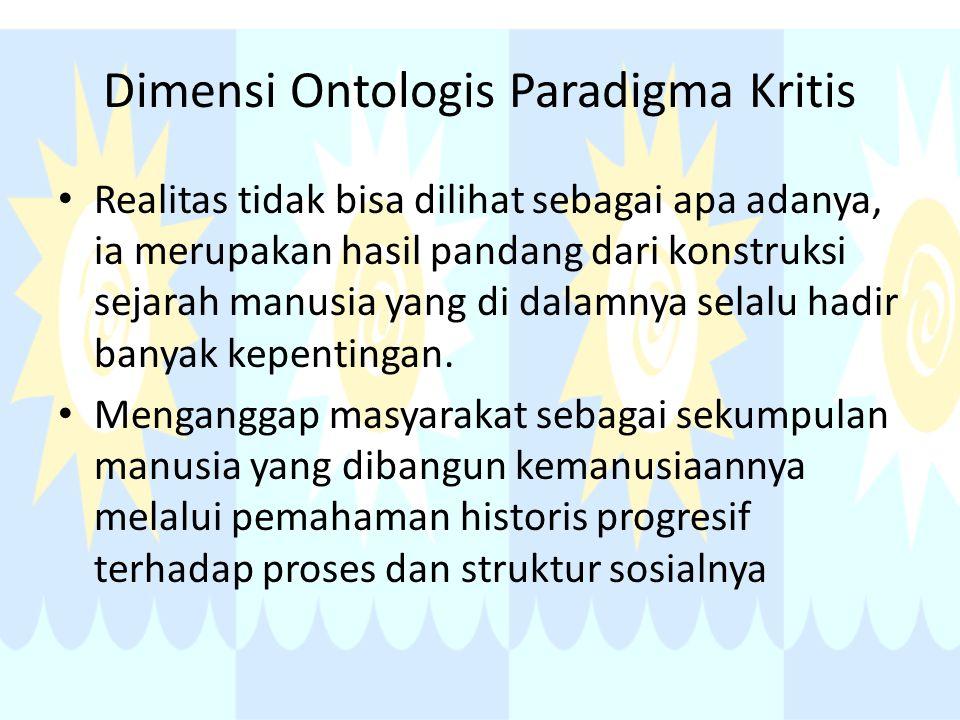 Dimensi Ontologis Paradigma Kritis Realitas tidak bisa dilihat sebagai apa adanya, ia merupakan hasil pandang dari konstruksi sejarah manusia yang di dalamnya selalu hadir banyak kepentingan.