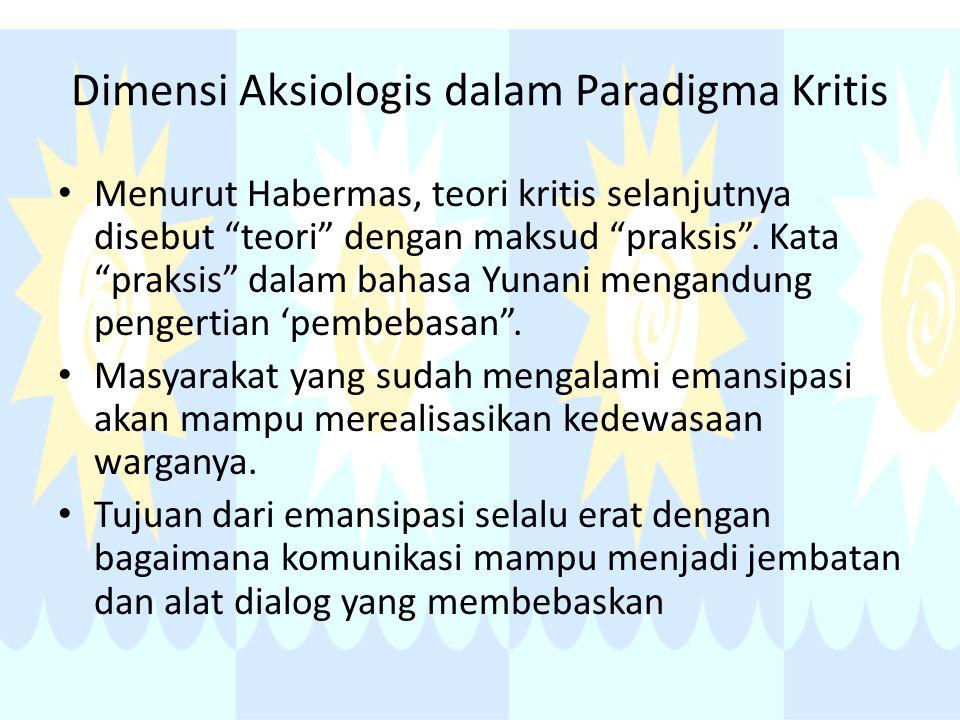 """Dimensi Aksiologis dalam Paradigma Kritis Menurut Habermas, teori kritis selanjutnya disebut """"teori"""" dengan maksud """"praksis"""". Kata """"praksis"""" dalam bah"""