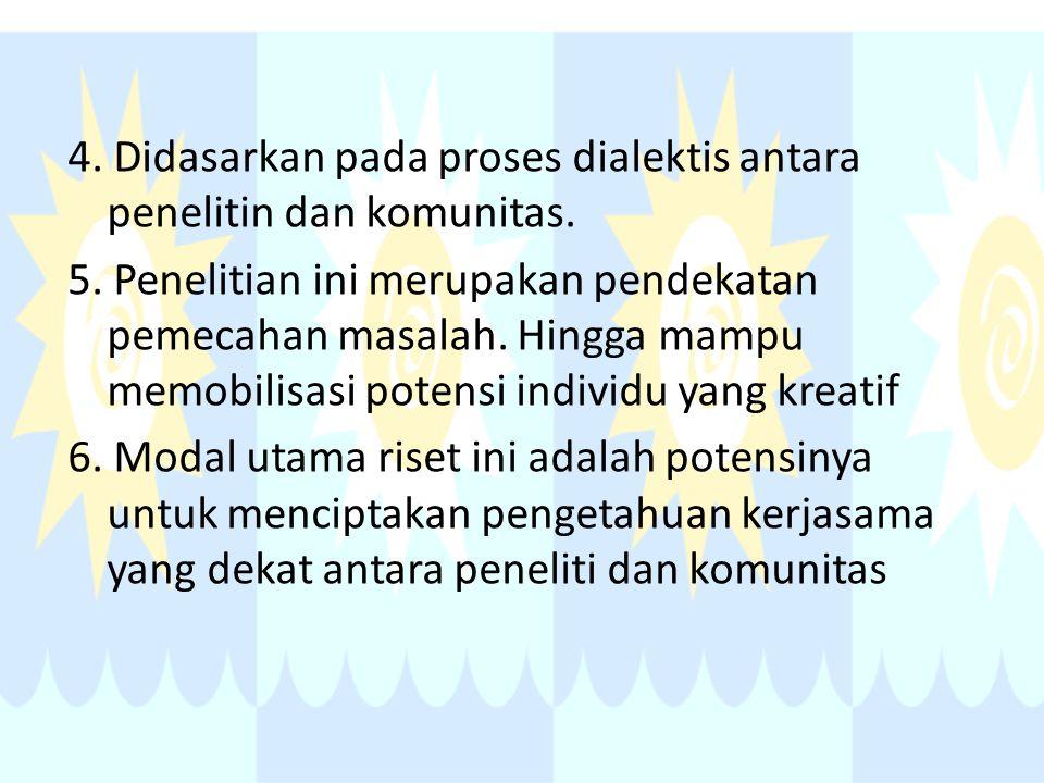 4.Didasarkan pada proses dialektis antara penelitin dan komunitas.
