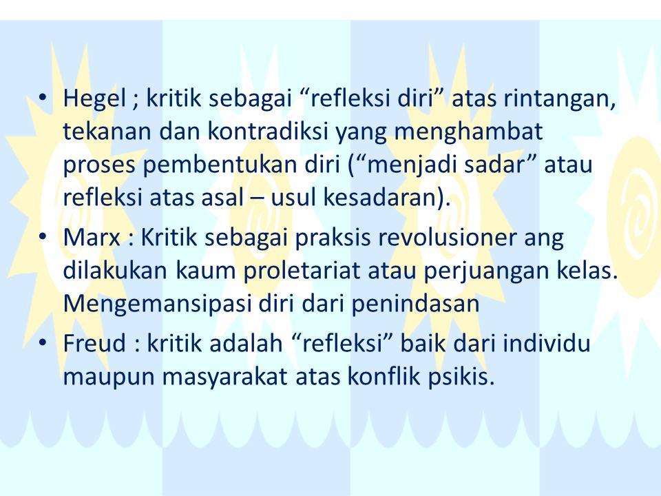 """Hegel ; kritik sebagai """"refleksi diri"""" atas rintangan, tekanan dan kontradiksi yang menghambat proses pembentukan diri (""""menjadi sadar"""" atau refleksi"""