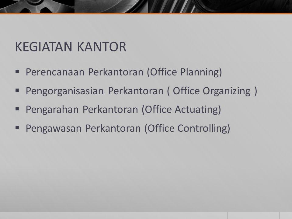 KEGIATAN KANTOR  Perencanaan Perkantoran (Office Planning)  Pengorganisasian Perkantoran ( Office Organizing )  Pengarahan Perkantoran (Office Actu