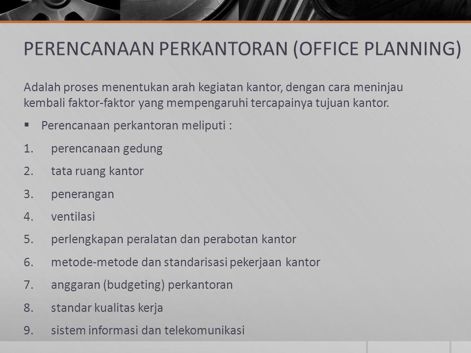 PERENCANAAN PERKANTORAN (OFFICE PLANNING) Adalah proses menentukan arah kegiatan kantor, dengan cara meninjau kembali faktor-faktor yang mempengaruhi