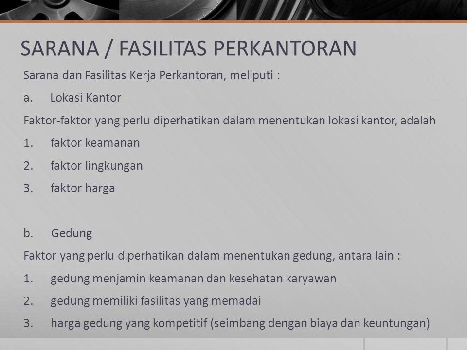 SARANA / FASILITAS PERKANTORAN Sarana dan Fasilitas Kerja Perkantoran, meliputi : a. Lokasi Kantor Faktor-faktor yang perlu diperhatikan dalam menentu