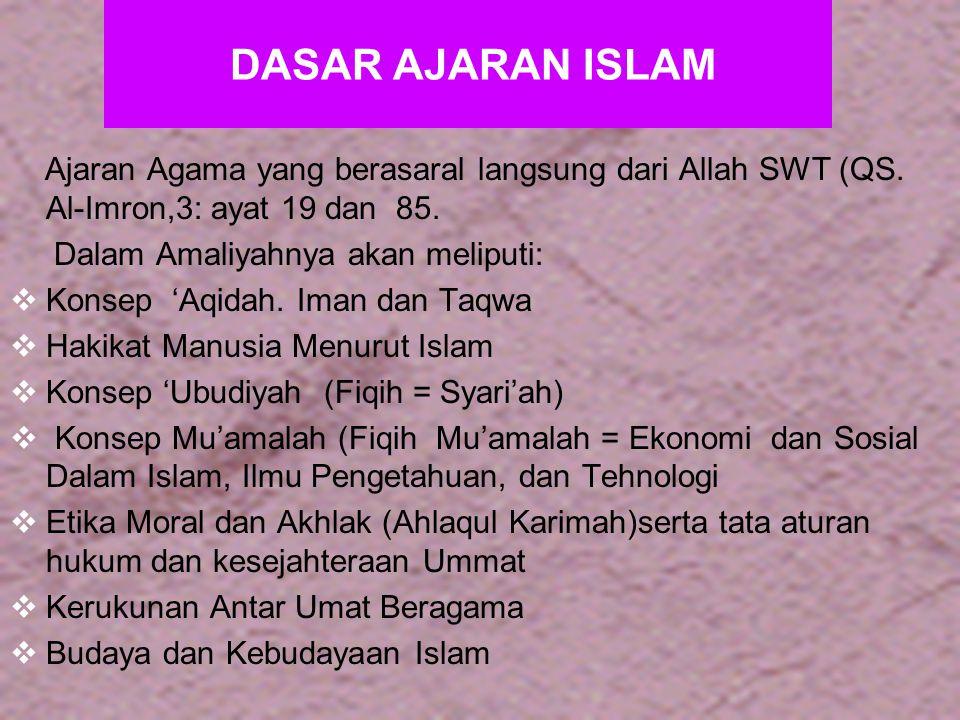 26 Lanjutan …..Beberapa dasar ayat Al-Qur'an yang menjelaskan: * QS.
