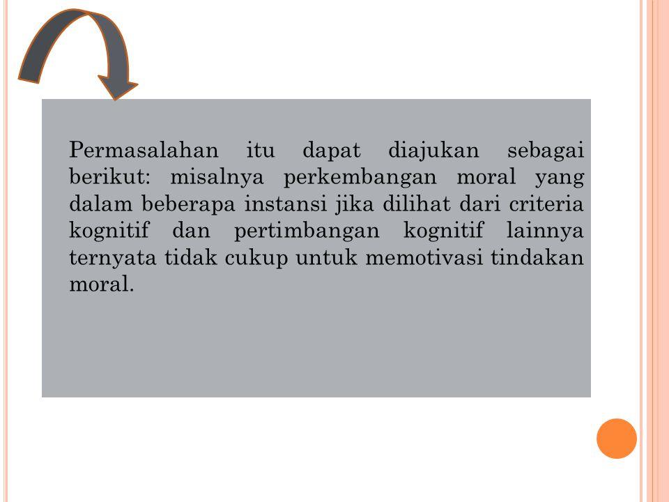 I DENTITAS M ORAL DAN K OGNISI M ORAL Bab ini lebih bersifat controversial dan lebih mendekati filsafat daripada psikologi, yang akan menimbulkan pertanyaan mengenai sifat kognitif dari diri moral serta hubungan fungsional antara pertimbangan moral dengan identitas moral.