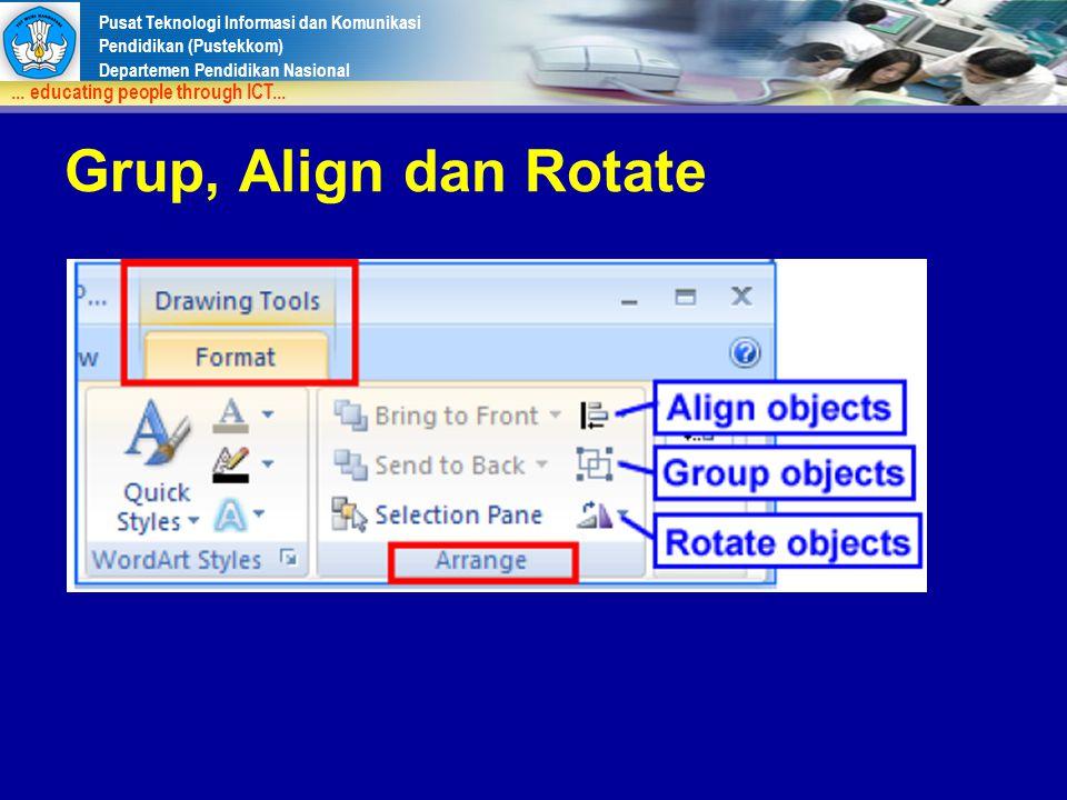 Pusat Teknologi Informasi dan Komunikasi Pendidikan (Pustekkom) Departemen Pendidikan Nasional... educating people through ICT... Grup, Align dan Rota