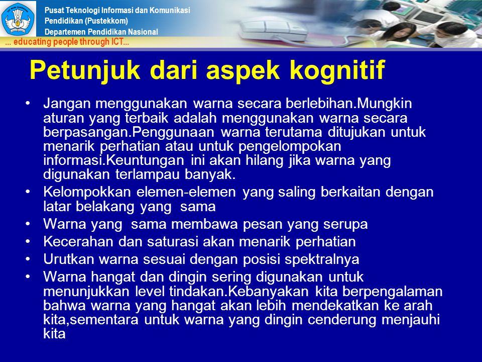 Pusat Teknologi Informasi dan Komunikasi Pendidikan (Pustekkom) Departemen Pendidikan Nasional... educating people through ICT... Petunjuk dari aspek
