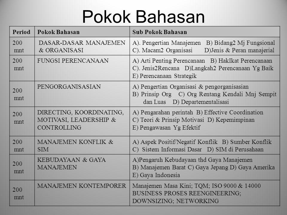 Pokok Bahasan PeriodPokok BahasanSub Pokok Bahasan 200 mnt DASAR-DASAR MANAJEMEN & ORGANISASI A).