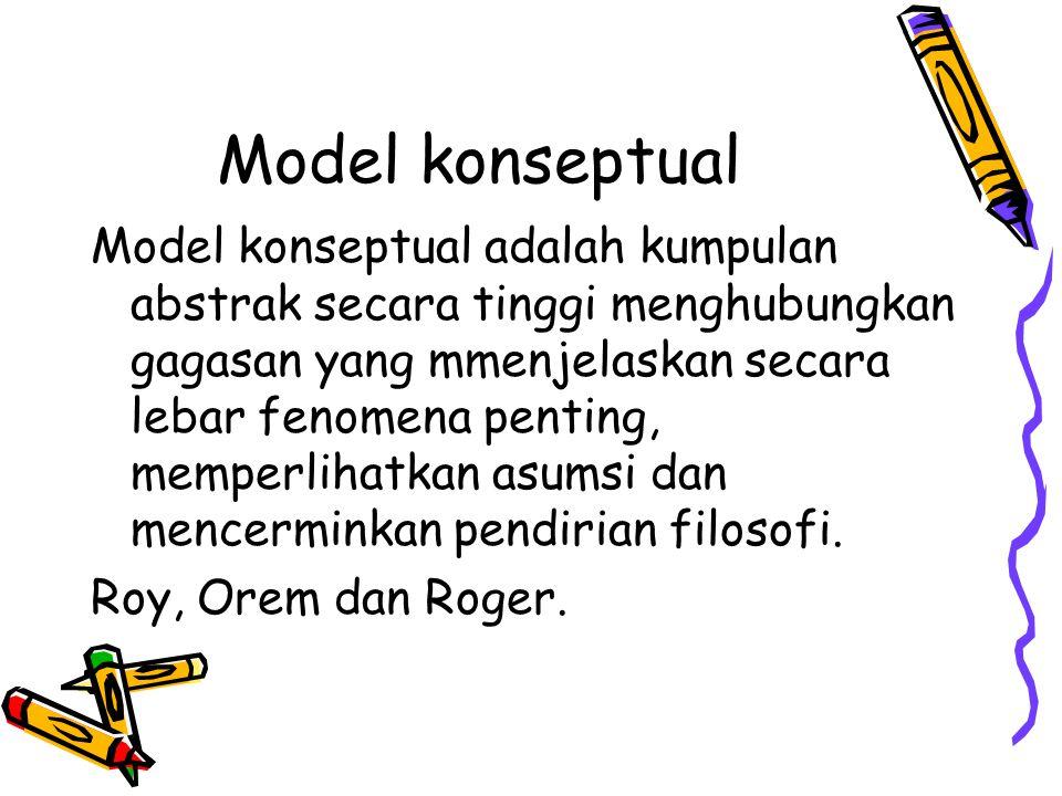 Model konseptual Model konseptual adalah kumpulan abstrak secara tinggi menghubungkan gagasan yang mmenjelaskan secara lebar fenomena penting, memperl