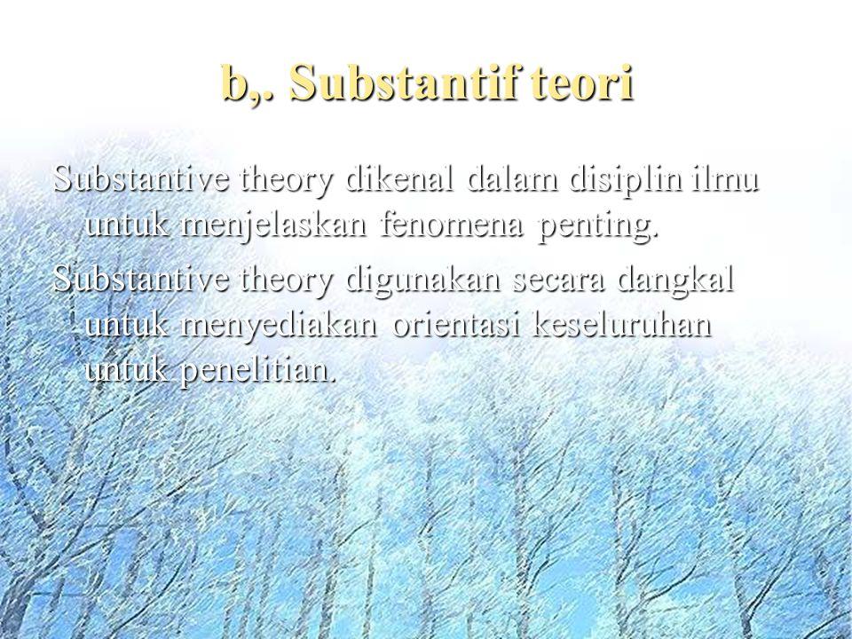 b,. Substantif teori Substantive theory dikenal dalam disiplin ilmu untuk menjelaskan fenomena penting. Substantive theory digunakan secara dangkal un