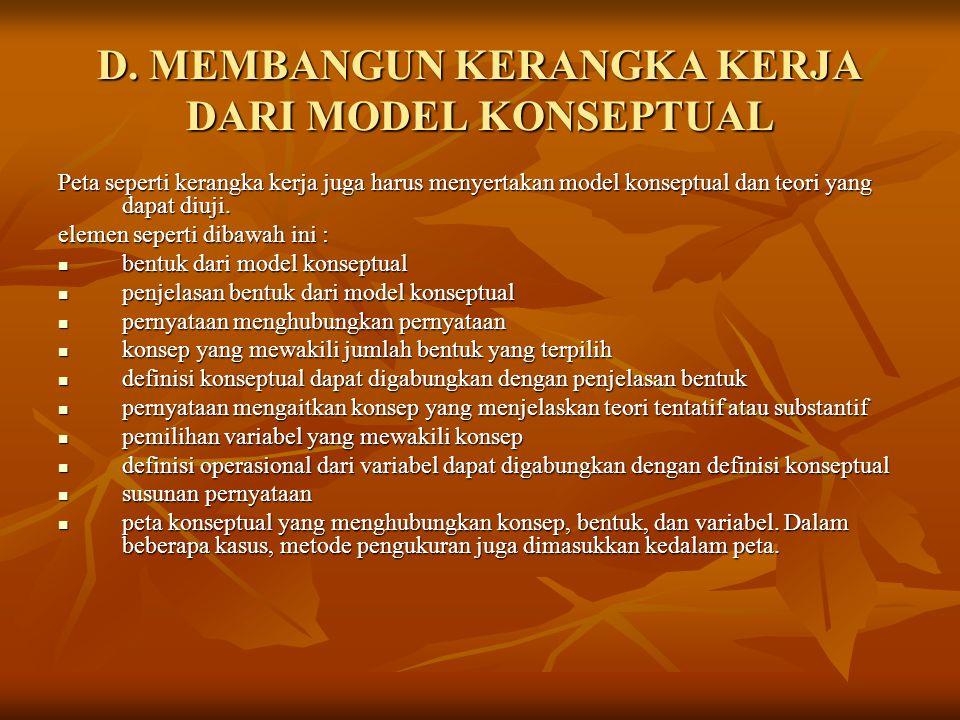 D. MEMBANGUN KERANGKA KERJA DARI MODEL KONSEPTUAL Peta seperti kerangka kerja juga harus menyertakan model konseptual dan teori yang dapat diuji. elem