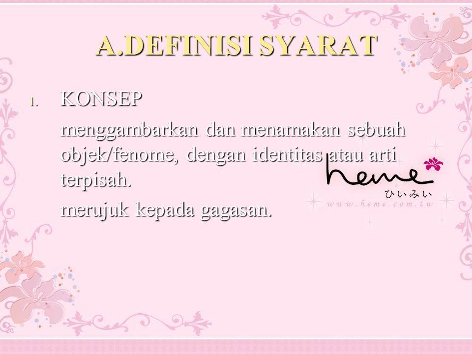 A.DEFINISI SYARAT 1. KONSEP menggambarkan dan menamakan sebuah objek/fenome, dengan identitas atau arti terpisah. merujuk kepada gagasan.