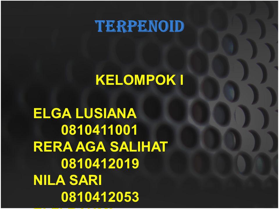 TERPENOID KELOMPOK I ELGA LUSIANA 0810411001 RERA AGA SALIHAT 0810412019 NILA SARI 0810412053 ELFI RAHMI 0810412057 RIKA MULYA SARI 0810413103
