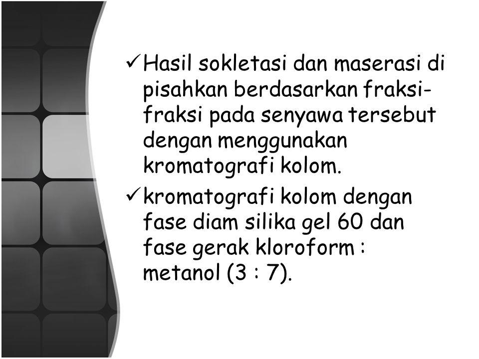 Sokletasi 1000 g serbuk kering herba meniran disokletasi dengan 5L pelarut n-heksana. Ekstrak n-heksana dipekatkan lalu disabunkan dalam 50 mL KOH 10%