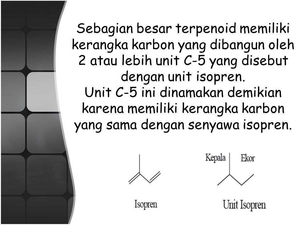 SIFAT FISIKA KIMIA TERPENA/TERPENOIDA SIFAT FISIKA CAIRAN TIDAK BERWARNA, BERBAU KHAS, TD 150-200°C, BJ LEBIH KECIL DARI AIR, MENGUAP DENGAN UAP AIR, TIDAK LARUT DALAM AIR, LARUT DALAM PELARUT ORGANIK, DAN PADA UMUMNYA OPTIK AKTIF SIFAT KIMIA PADA UMUMNYA HIDROKARBON TIDAK JENUH, REAKTIF PADA UMUMNYA MUDAH TEROKSIDASI, DAN CENDRUNG MENJADI RESIN BILA DIBIARKAN DIUDARA TERBUKA SIFAT TERPeNOID