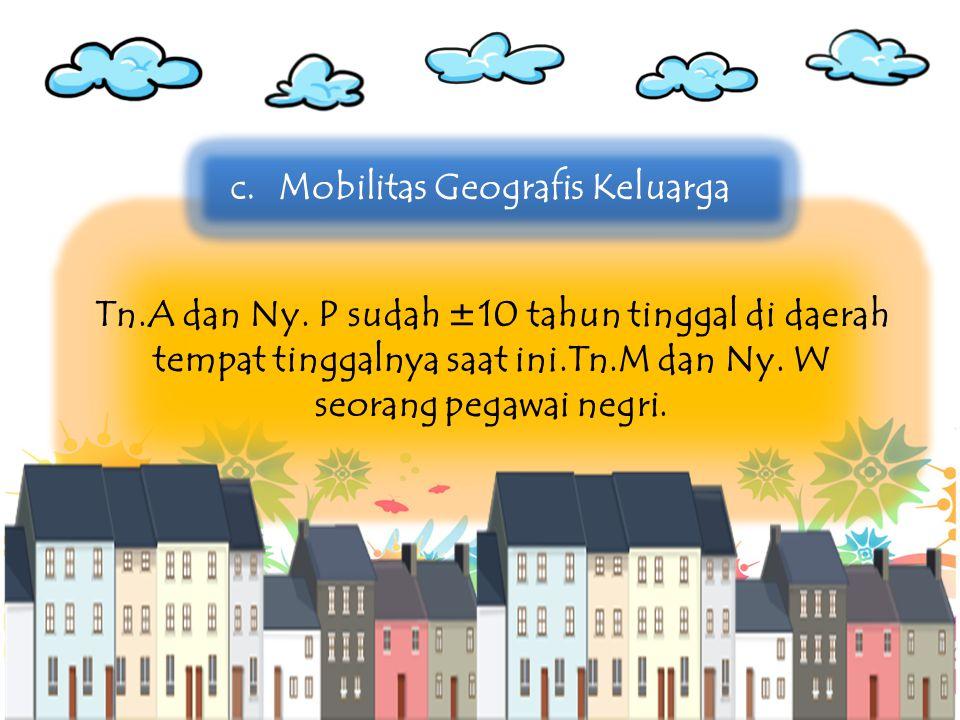Tn.A dan Ny. P sudah ±10 tahun tinggal di daerah tempat tinggalnya saat ini.Tn.M dan Ny. W seorang pegawai negri. c.Mobilitas Geografis Keluarga