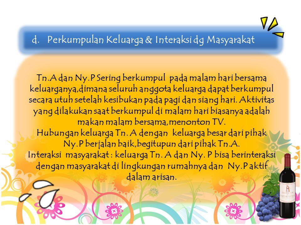 Tn.A dan Ny.P Sering berkumpul pada malam hari bersama keluarganya,dimana seluruh anggota keluarga dapat berkumpul secara utuh setelah kesibukan pada