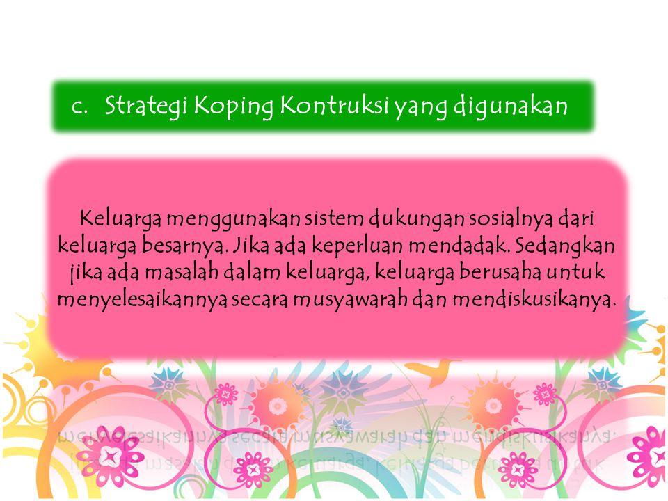 c.Strategi Koping Kontruksi yang digunakan
