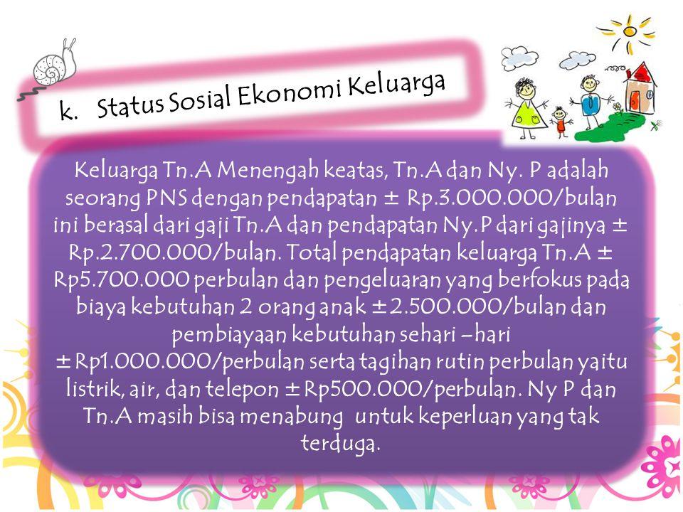 Keluarga Tn.A Menengah keatas, Tn.A dan Ny. P adalah seorang PNS dengan pendapatan ± Rp.3.000.000/bulan ini berasal dari gaji Tn.A dan pendapatan Ny.P