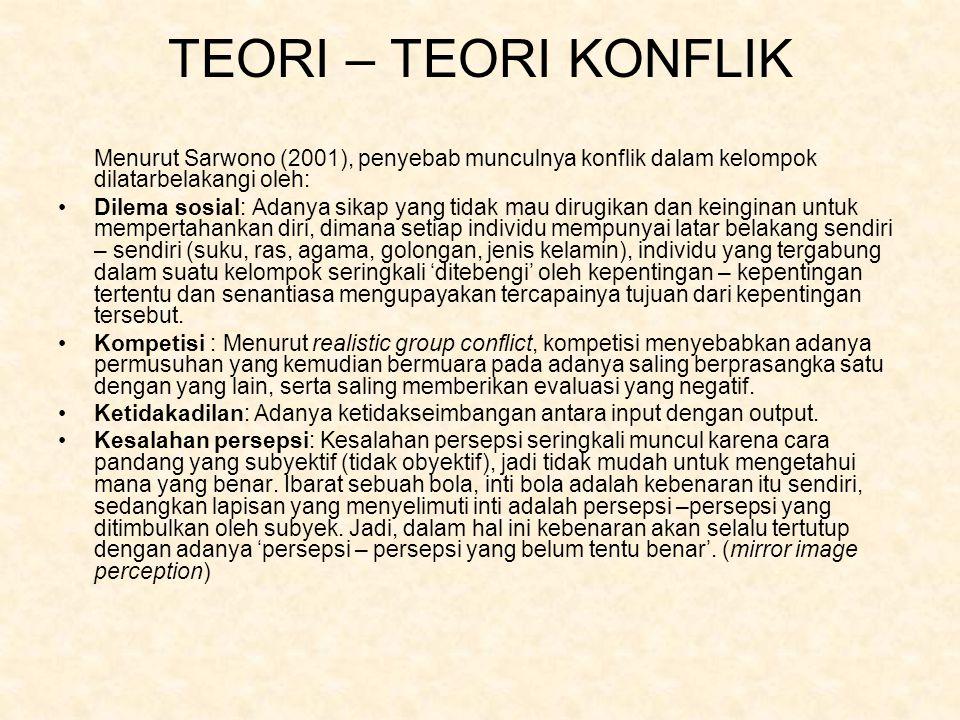 TEORI – TEORI KONFLIK Menurut Sarwono (2001), penyebab munculnya konflik dalam kelompok dilatarbelakangi oleh: Dilema sosial: Adanya sikap yang tidak