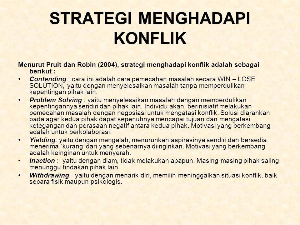 STRATEGI MENGHADAPI KONFLIK Menurut Pruit dan Robin (2004), strategi menghadapi konflik adalah sebagai berikut : Contending : cara ini adalah cara pem