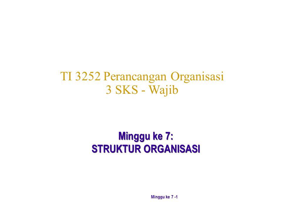 Minggu ke 7 -1 TI 3252 Perancangan Organisasi 3 SKS - Wajib Minggu ke 7: STRUKTUR ORGANISASI Minggu ke 7: STRUKTUR ORGANISASI
