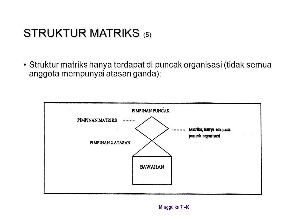 Minggu ke 7 -40 STRUKTUR MATRIKS (5) Struktur matriks hanya terdapat di puncak organisasi (tidak semua anggota mempunyai atasan ganda):