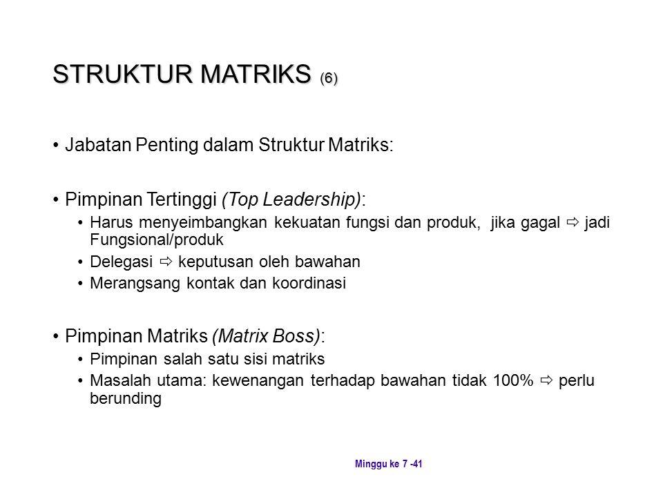 Minggu ke 7 -41 STRUKTUR MATRIKS (6) Jabatan Penting dalam Struktur Matriks: Pimpinan Tertinggi (Top Leadership): Harus menyeimbangkan kekuatan fungsi dan produk, jika gagal  jadi Fungsional/produk Delegasi  keputusan oleh bawahan Merangsang kontak dan koordinasi Pimpinan Matriks (Matrix Boss): Pimpinan salah satu sisi matriks Masalah utama: kewenangan terhadap bawahan tidak 100%  perlu berunding