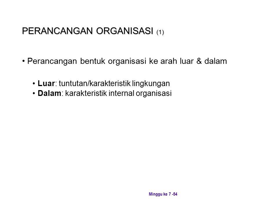 Minggu ke 7 -54 PERANCANGAN ORGANISASI (1) Perancangan bentuk organisasi ke arah luar & dalam Luar: tuntutan/karakteristik lingkungan Dalam: karakteristik internal organisasi