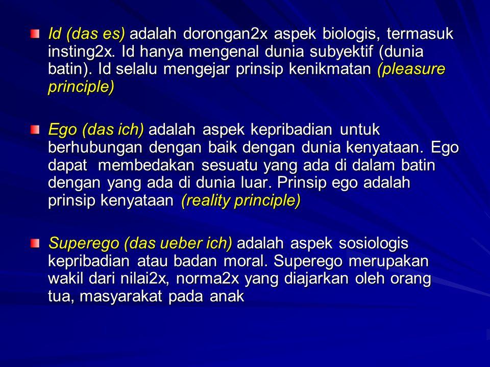 Id (das es) adalah dorongan2x aspek biologis, termasuk insting2x. Id hanya mengenal dunia subyektif (dunia batin). Id selalu mengejar prinsip kenikmat