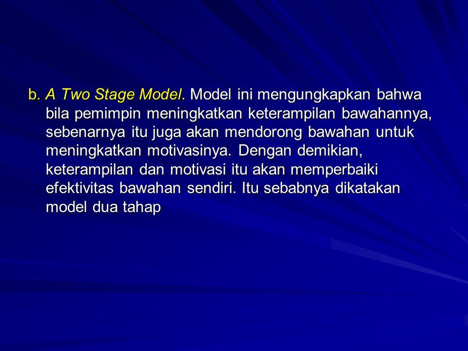 b. A Two Stage Model. Model ini mengungkapkan bahwa bila pemimpin meningkatkan keterampilan bawahannya, sebenarnya itu juga akan mendorong bawahan unt