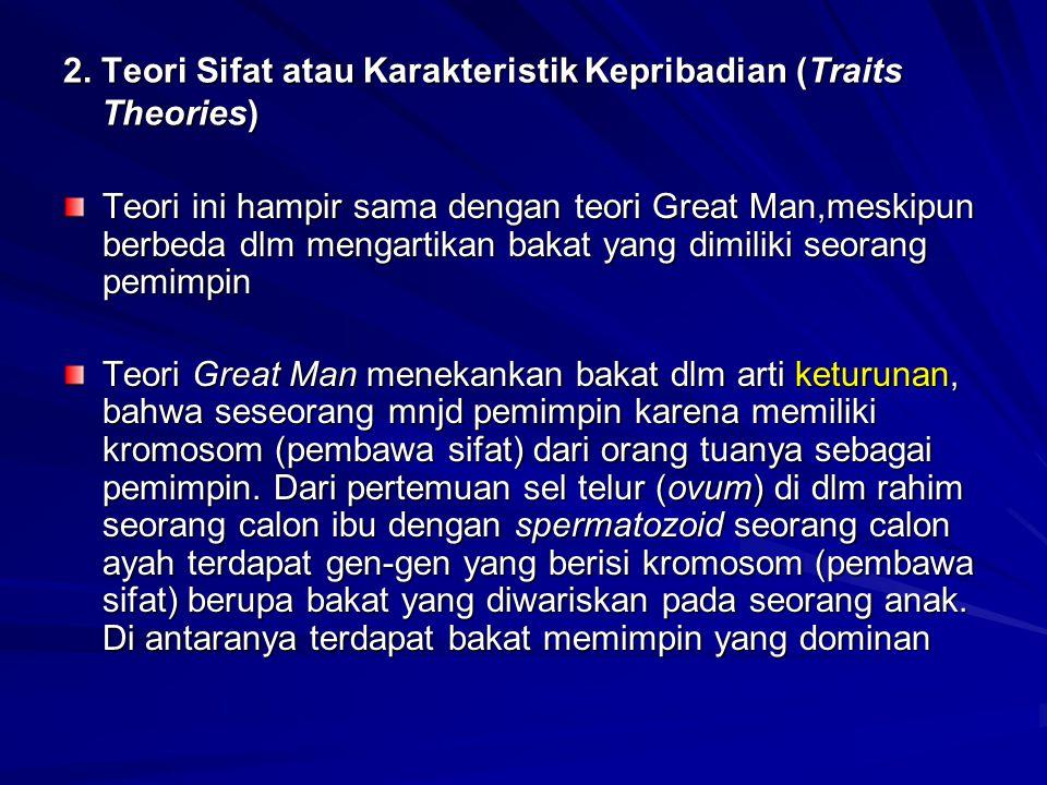 2. Teori Sifat atau Karakteristik Kepribadian (Traits Theories) Teori ini hampir sama dengan teori Great Man,meskipun berbeda dlm mengartikan bakat ya