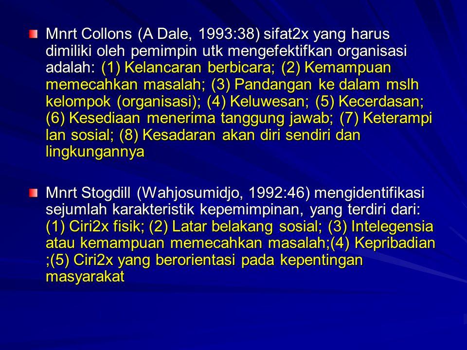 Mnrt Collons (A Dale, 1993:38) sifat2x yang harus dimiliki oleh pemimpin utk mengefektifkan organisasi adalah: (1) Kelancaran berbicara; (2) Kemampuan