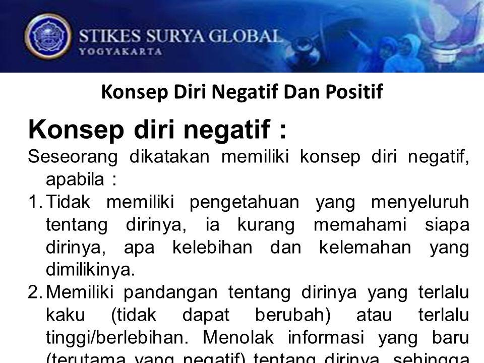 Konsep Diri Negatif Dan Positif Konsep diri negatif : Seseorang dikatakan memiliki konsep diri negatif, apabila :  Tidak memiliki pengetahuan yang m