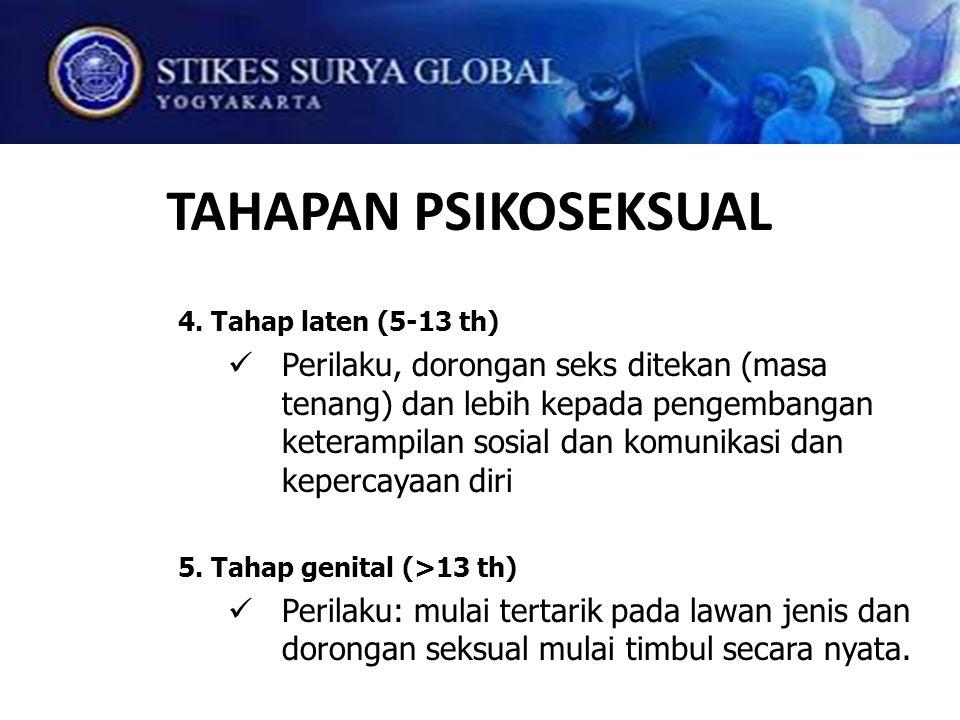 TAHAPAN PSIKOSEKSUAL 4. Tahap laten (5-13 th) Perilaku, dorongan seks ditekan (masa tenang) dan lebih kepada pengembangan keterampilan sosial dan komu