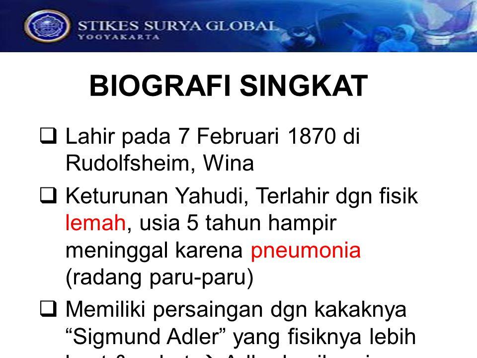 BIOGRAFI SINGKAT  Lahir pada 7 Februari 1870 di Rudolfsheim, Wina  Keturunan Yahudi, Terlahir dgn fisik lemah, usia 5 tahun hampir meninggal karena