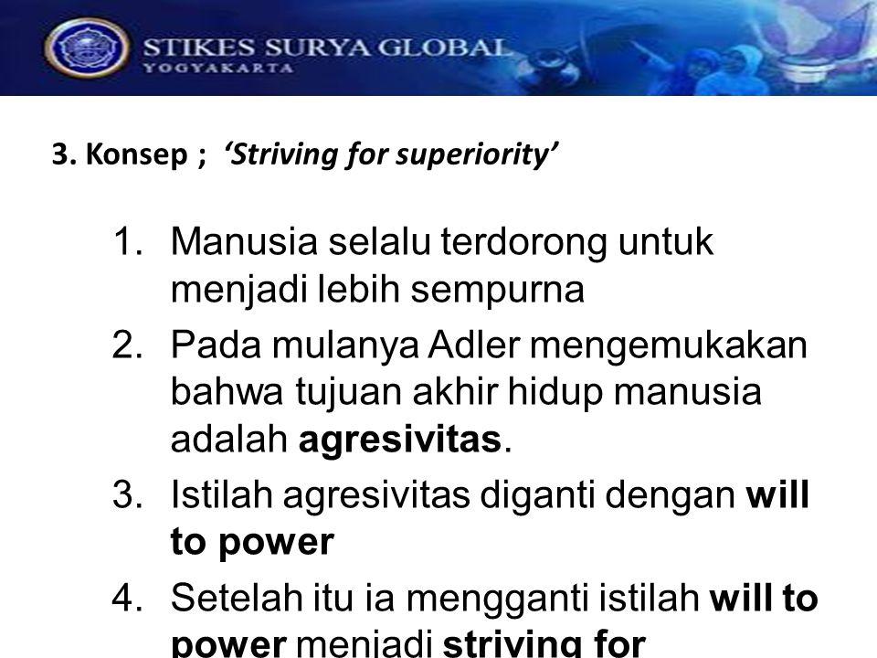 3. Konsep ; 'Striving for superiority'  Manusia selalu terdorong untuk menjadi lebih sempurna  Pada mulanya Adler mengemukakan bahwa tujuan akhir
