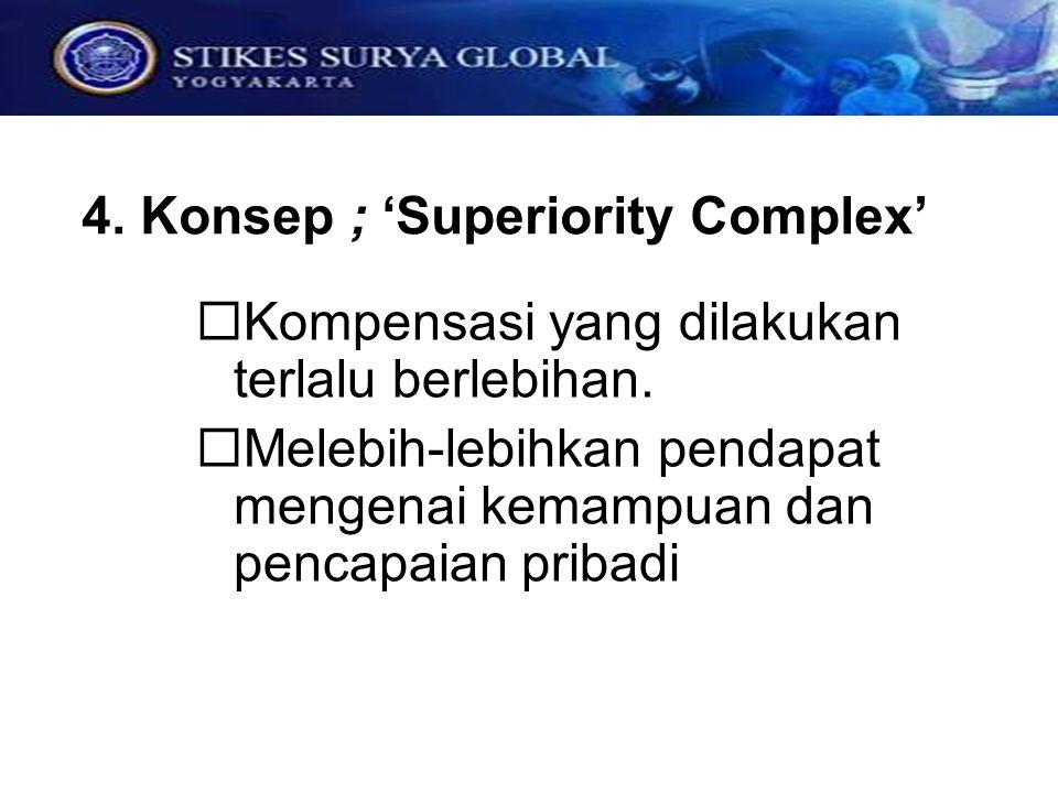 4. Konsep ; 'Superiority Complex'  Kompensasi yang dilakukan terlalu berlebihan.  Melebih-lebihkan pendapat mengenai kemampuan dan pencapaian pribad