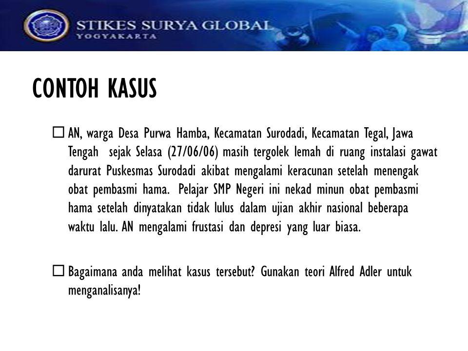 CONTOH KASUS  AN, warga Desa Purwa Hamba, Kecamatan Surodadi, Kecamatan Tegal, Jawa Tengah sejak Selasa (27/06/06) masih tergolek lemah di ruang inst